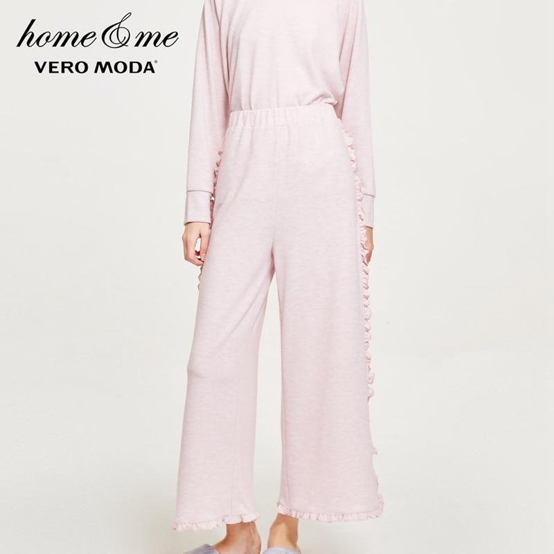 Vero Moda Women's Ruffled Slits Wide-leg Knitted Leisure Pants   3181R2504
