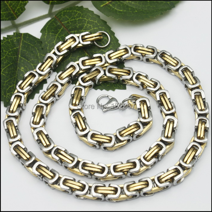 US $11 89 15% OFF|8mm Classic Square Byzantine Chain Men's Necklace Silver  Gold Stainless Steel 24''-in Chain Necklaces from Jewelry & Accessories on