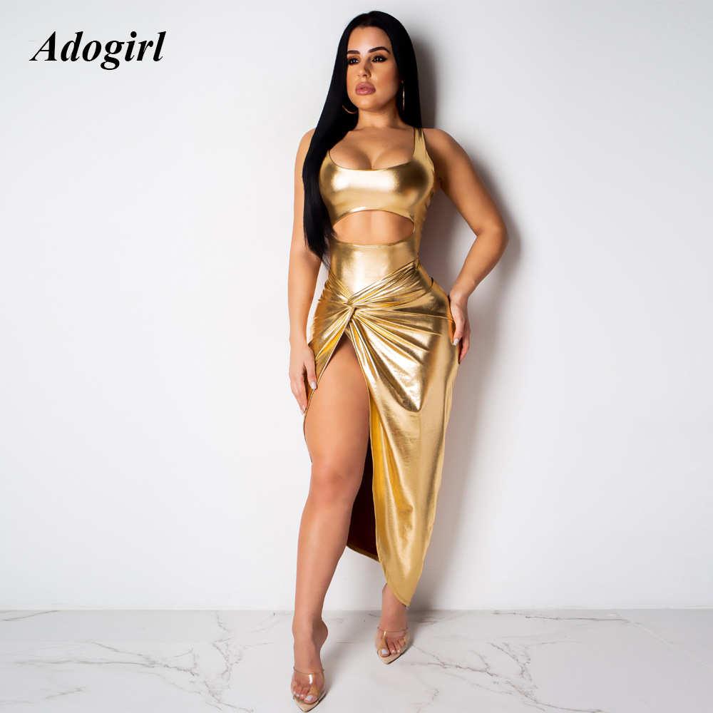 Adogirl Elegant Golden Pleated Mini Dress Women Sexy Hollow Out High Slit Bodycon Dress Women Night Club Party Dress Vestidos