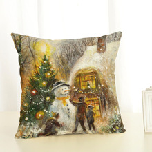 New Year Santa Clause Christmas Deer Cotton Linen Cover Cushion Home Decor 45x45cm Pillow Case Christmas Decorations for Home
