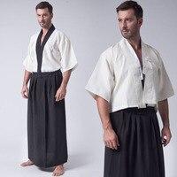 Japan Tradition Japanese Kimono Men Black White Yukata Clothing 3pcs Sets Vest Top Coat Skirt For