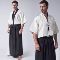 Japan Tradition Japanese Kimono Men Black White Yukata Clothing 3pcs Sets Vest Top Coat Skirt for Karate Cosplay Bathrobe Show