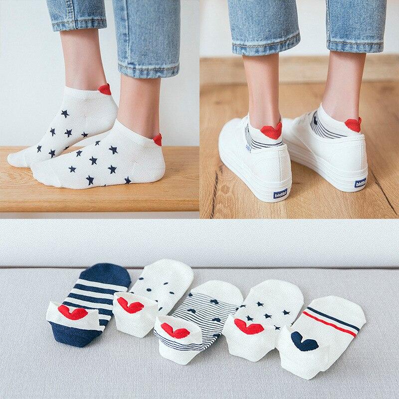 2019 New Arrival 5 Pairs Women Cotton Socks Cat Ankle Socks Short Socks Casual Animal Ear Red Heart Gril Socks 35-40