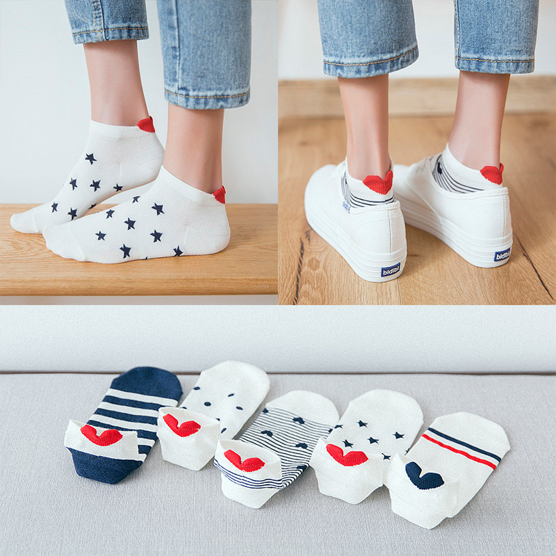 2019 New Arrival 5 Pairs Women Cotton   Socks   Cat Ankle   Socks   Short   Socks   Casual Animal Ear Red Heart Gril   Socks   35-40
