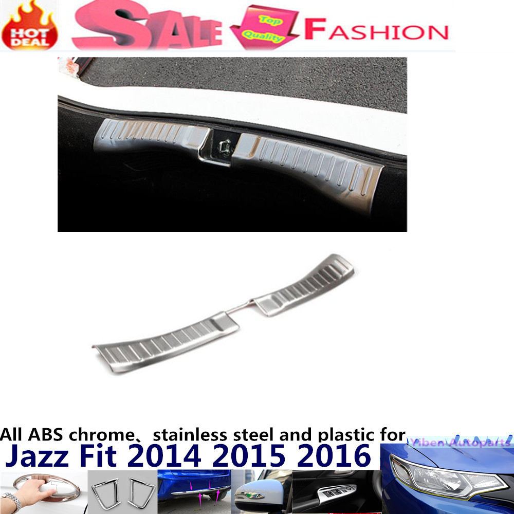 For H08DA FIT JAZZ 2014 2015 2016 Car Styling Stainless Steel inner Rear Bumper trim plate lamp frame threshold pedal 1pcs for porsche cayenne 2015 stainless steel outer rear bumper foot plate trim 1pcs car styling