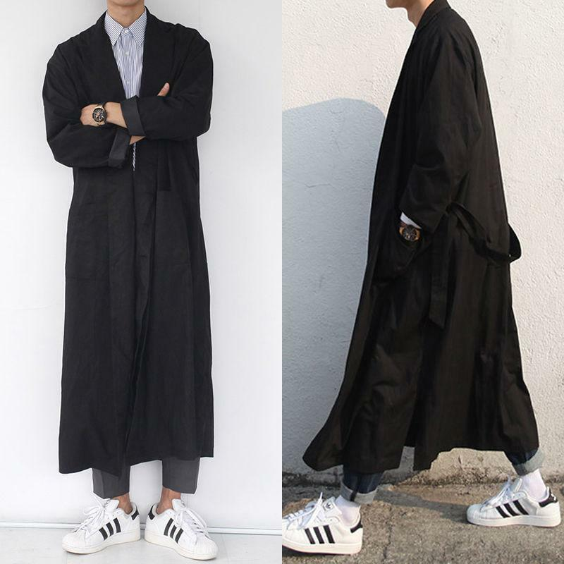 Men's Belted Lapel Long Trench Coat Loose Windbreaker Black Coat New Men Long Sleeve Streetwear Outwear Male
