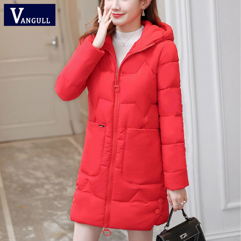Vangull Women Thicken   Parkas   Winter New Warm Long Sleeve Hooded Coat Plus Size 2019 Fashion Zipper Wadded Solid Loose Outerwear