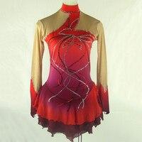 Customized Figure Skating Dress Spandex Material Red Color Rhythmic Gymnastics Leotard Handmade Dance Ice Skating Girl