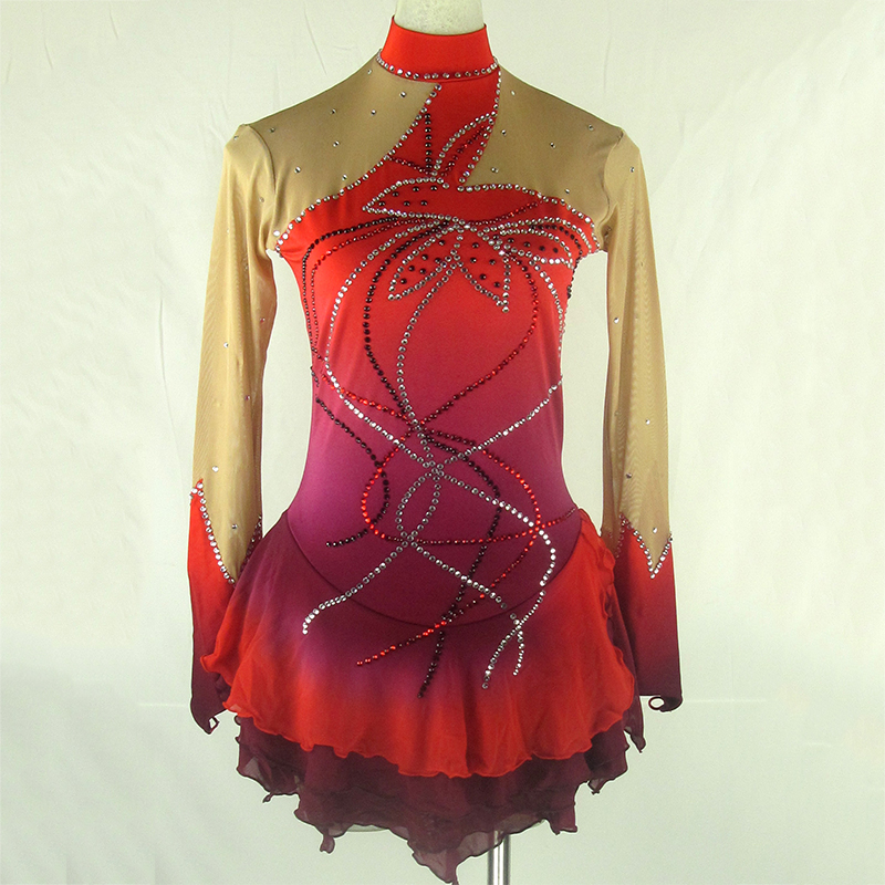 Customized Figure Skating Dress Spandex Material Red Color Rhythmic Gymnastics Leotard Handmade Dance Ice Skating Girl