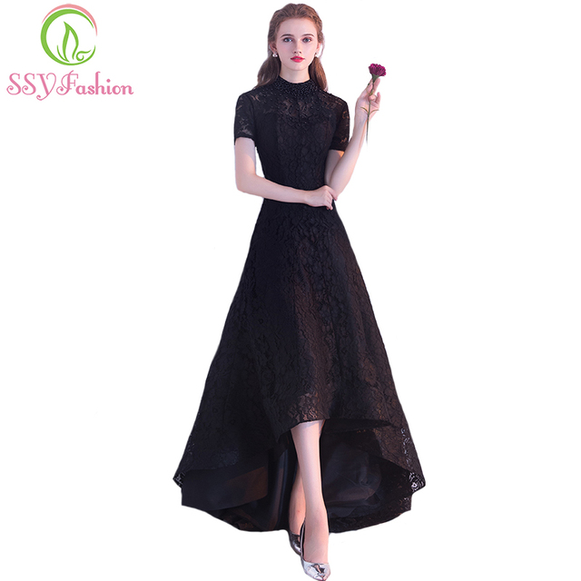 SSYFashion New Black Cocktail Dress The Bride Banquet Elegant Lace Party  Gown High low Short Front Long Back Formal Dress Custom 48230c1479d3