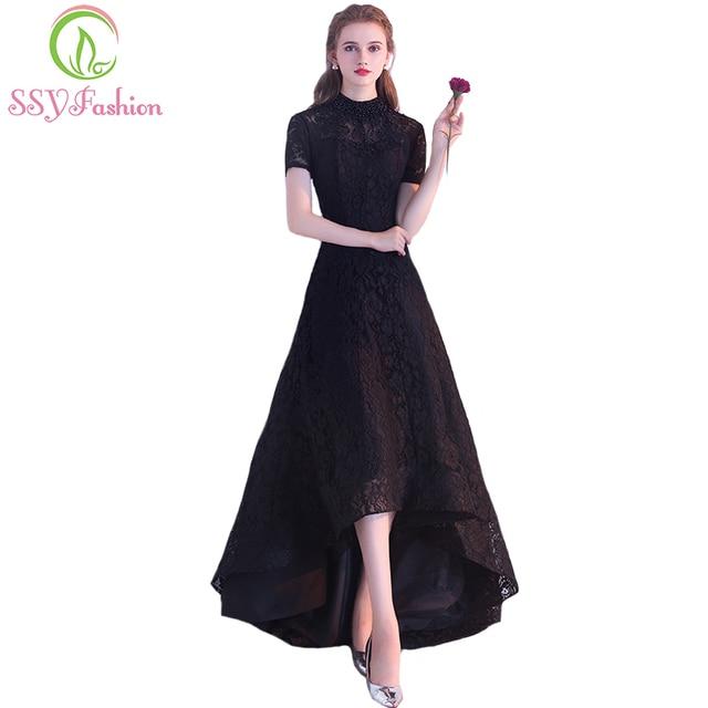 4aa9d83943 SSYFashion nuevo vestido de cóctel negro el banquete de la novia elegante  vestido de fiesta de