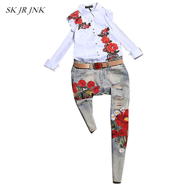Women Spring 2 Piece Set Shirt And Trousers Fashion Tracksuits Casual Floral Emboridery Tops Jeans Pants Two Piece Outfits SR313