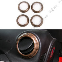 4pcs Wooden Grain Car Air Condition Vent Trims Cover Frame Sticker Car Styling Accessories For Jeep
