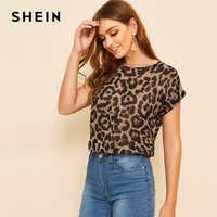 Shein em torno do pescoço leopardo blusa 2019 roupas femininas verão boné manga em torno do pescoço topos e blusas