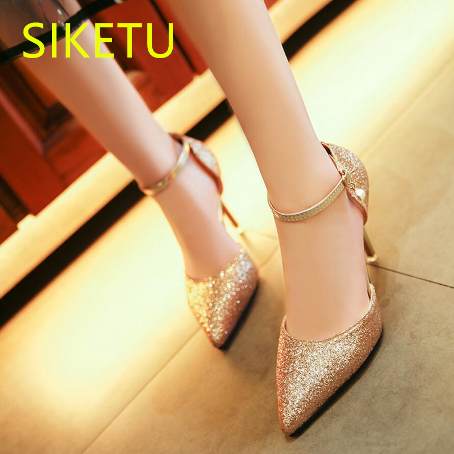 SIKETU 2017 Free shipping Spring and autumn Women shoes High heels shoes Wedding shoes sex Party pumps g440 Rhinestones siketu 2017 free shipping spring and autumn women shoes fashion high heels shoes wedding shoes sex was thin pumps g230