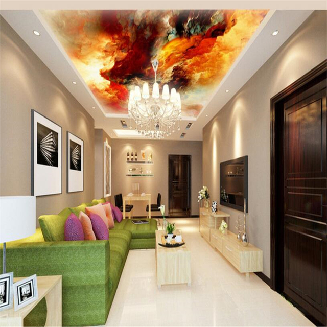 Beibehang Large Custom Wallpapers Colorful Oil Painting Clouds Zenith Home  Decoration
