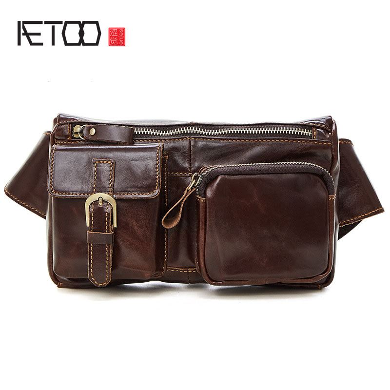 AETOO Retro first layer of leather waist bales shoulder Messenger bag leather chest bag men bag leisure package