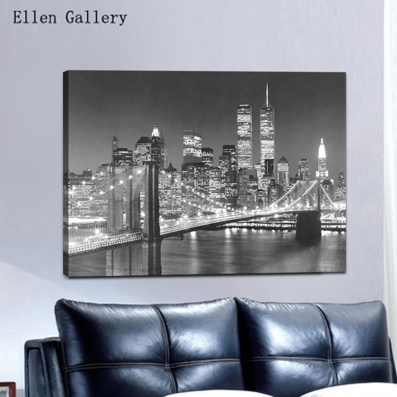 Home Decor New York Buildings Black And White Canvas