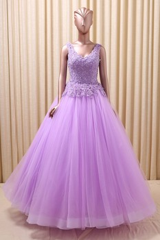 Real V-Neck Lace Top A-Line Prom Dresses Tulle Skirt Bandage Back Formal Evening Party Gowns Special Occasion Gowns 2019