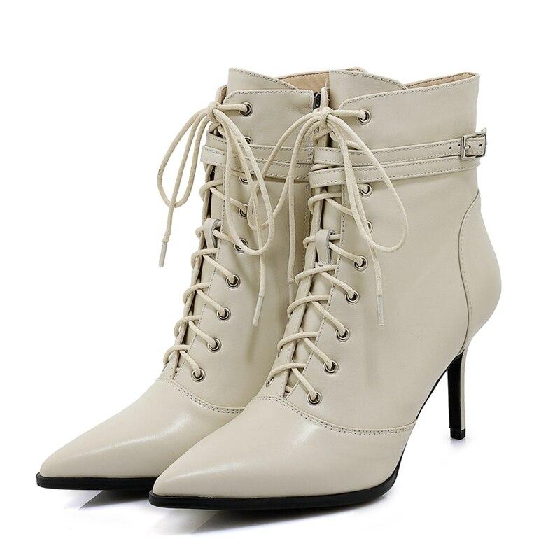 Bout 34 Chaussures Base Zyl1843 Pointu Femme De Mince 39 2018 Botas Troupeau Enmayer Taille Talons Femmes Pour black Bottes Mujer À Lacets Apricot fdwdU7