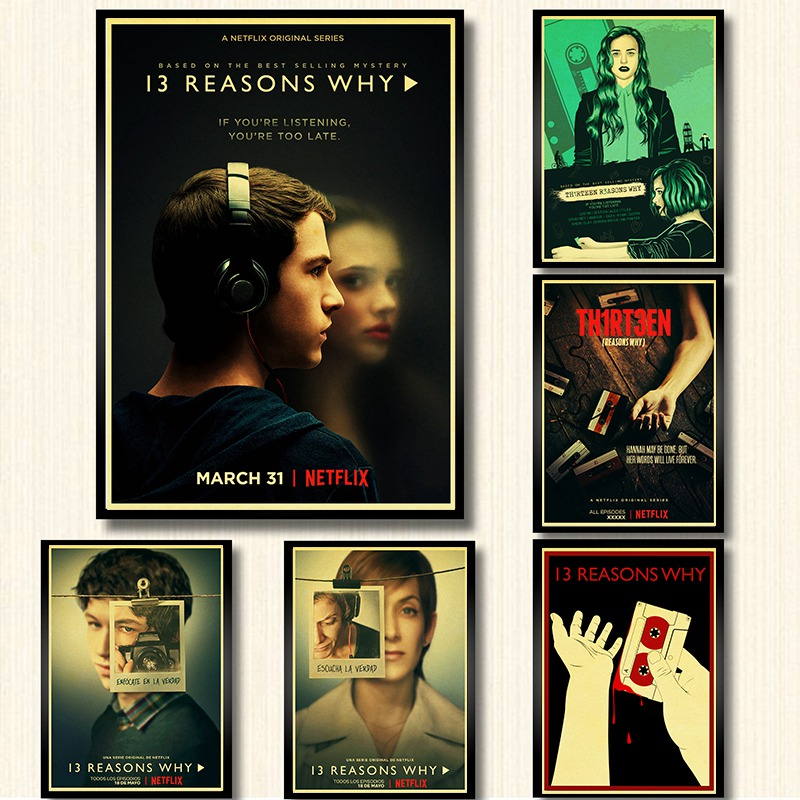 TV Series 13 Reasons Why Poster Home Decor Kraft Paper Print Wall Painting Retro Poster Wall Sticker