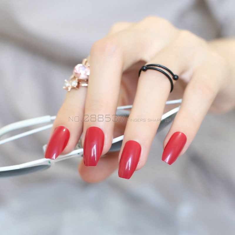 New Coffin False nails fashion Red brown personality Designs 24pcs ...