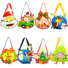 10 pcs/ lot christmas gift holders cartoon tote bag Children xmas DIY Halloween Gift Bag kids Spoof Ghost Festival Handmade 2017