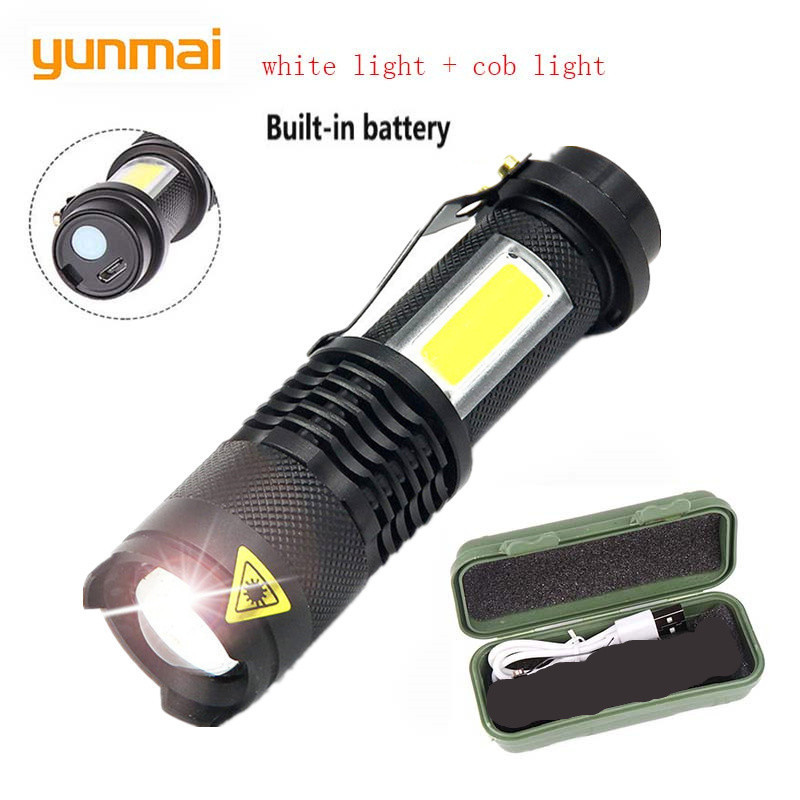 YUNMAI  NEW Usb Rechargeable 3800lm Q5+cob Led Flashlight Portable Built-in 14500 Mini Zoom Torch  Waterproof In Life Lantern