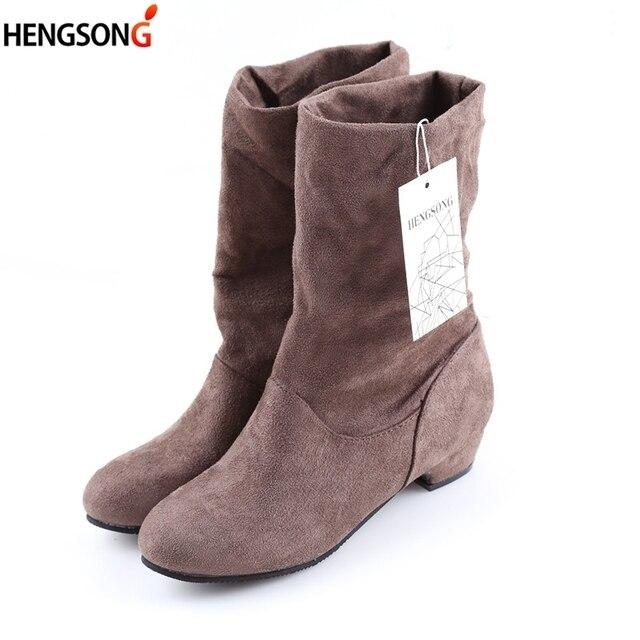 Plus ขนาดฤดูใบไม้ร่วงฤดูหนาวรองเท้าบู๊ทกลางลูกวัวมาร์ตินบู๊ทส์แฟชั่นผู้หญิงผ้าฝ้ายยืด Slip - on รองเท้าแบนรองเท้า