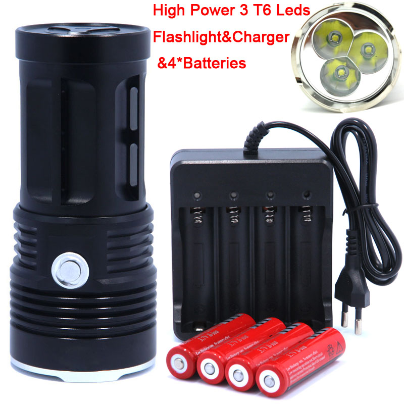 цена на 3T6 led Flashlight light 3*CREE  XM-L T6  torch 3 Mode 6000 Lumen Flashlight with 4x18650 Rechargeable Battery + charger