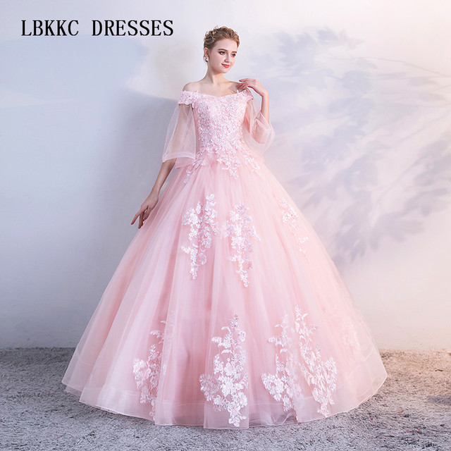 Baby Pink Quinceanera Dresses Ball Gown Tulle With Lace Elegant Six 16  Dresses Birthday Gown Vestidos 7fe0eb3b4f17