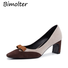 hot deal buy bimolter sheep suede pointed toe pumps 6cm thick heel butterfly pumps cow muscle soles elegant casual fashion wear pumps nb057