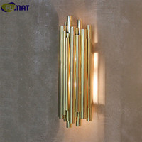 FUMAT Modern Nordic Wall Lamp Bedroom Bedside Wall Light Wall Mounted Light Fixtures Gold Sconce Pipe Organ Brubeck Wall Lamp