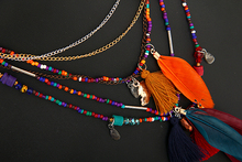 Multi-Color Feather Necklaces & Pendants Beads Chain