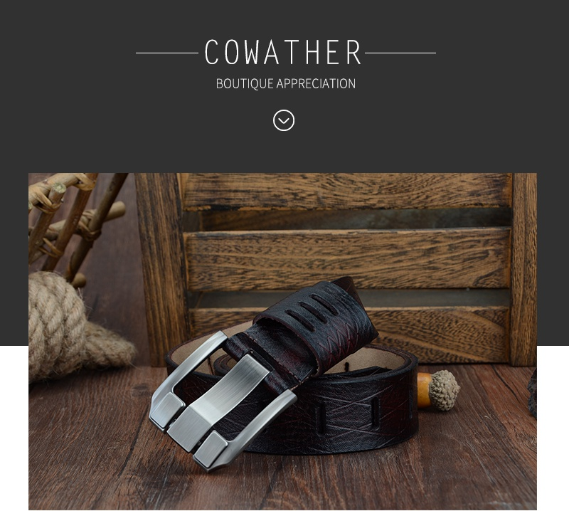 COWATHER 2017 QUALITY cow genuine luxury leather men belts for men strap male pin buckle BIG SIZE 100-130cm 3.8 width QSK001 2
