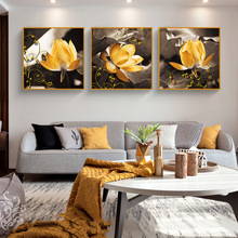 American style light luxury oil painting golden lotus INS mural Living room entrance Sofa background wall Hanging