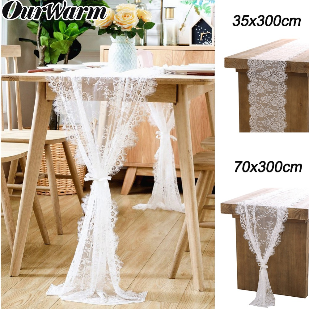 OurWarm White Lace Table Runner Floral Table Cloth Rustic Wedding Decoration Baby Shower Boho Party Decor 70X300cm/35x300cm