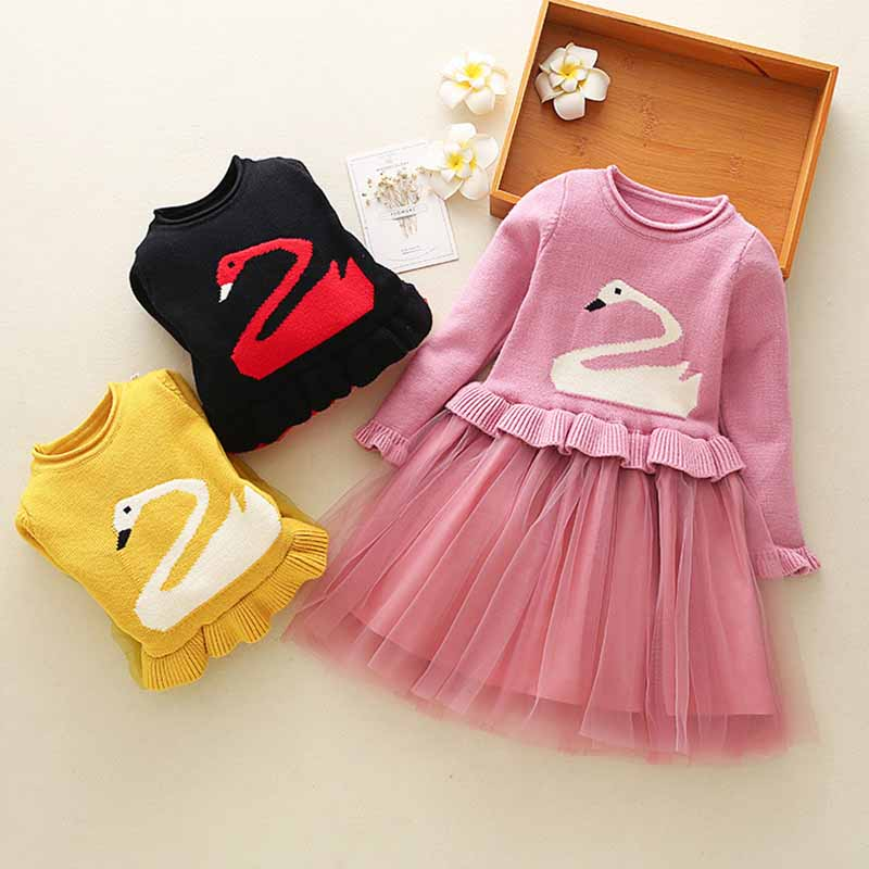 BibiCola 2018 new autumn girls long-sleeved casual dress Korean of the children's sweater princess dress kids party dres bibicola 2018 fall winter new girls long sleeved warm dress korean version of the children s leisure sweater princess party dres