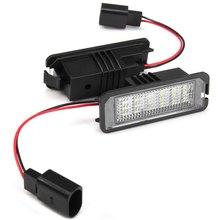 2Pcs/Set White 18 LED 3528 SMD Car License Plate Lights Lamps Bulbs for VW Golf 4 Eos 06 Passat CC 09 car Led light car styling