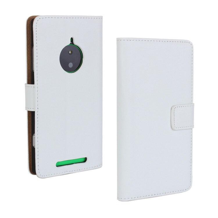 Стильный высококачественный чехол-бумажник из натуральной кожи с откидной крышкой для Nokia Lumia 830 задняя крышка-чехол для телефона с держателем для карт и подставкой - Цвет: White