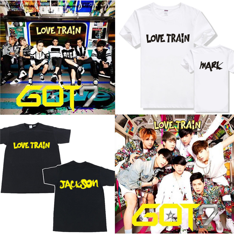 2016 summer new style clothing GOT7 black shirts Tops Korean women t shirt red white shirts for women k-pop layer