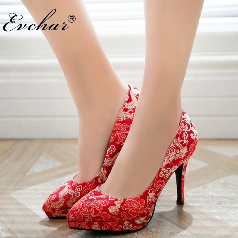 EVCHAR red fashion spring autumn shoes woman elegant Chinese style sexy wedding pumps super high heels shoes big size 32-43 basic pump