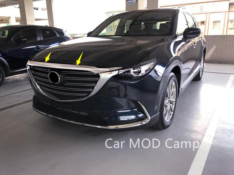 For Mazda CX-9 CX9 2016 2017 2018 ABS Chrome Front Head Engine Lid Cover Decoration Trim 1pcs Car Styling Accessories!