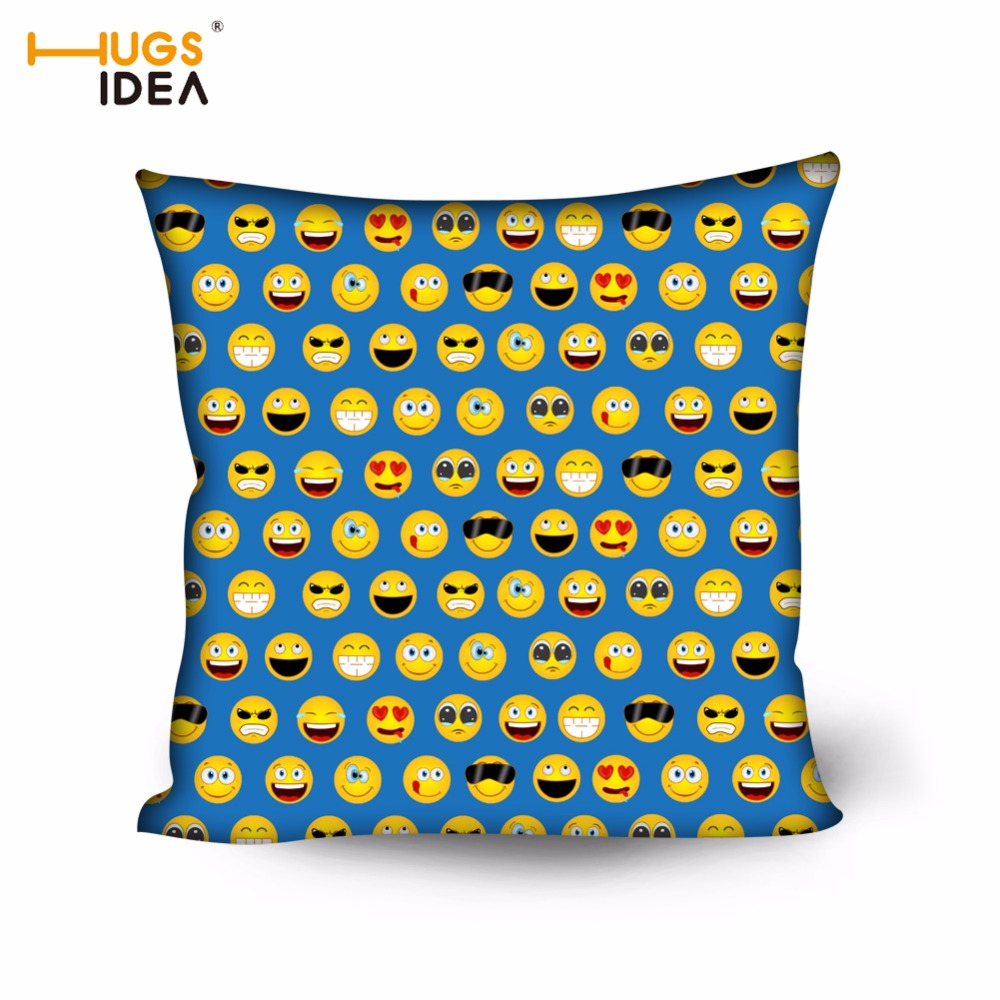 HUGSIDEA Cute Faces Emoji Bedroom Hotel Chair Pillow Cases Expression Home Decoration Pillow Cover Cotton Safa Car Cushion Cover