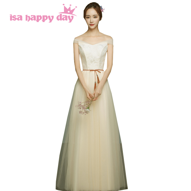 Champagne Color Bridesmaid's Formal Dress Girl Long Simple