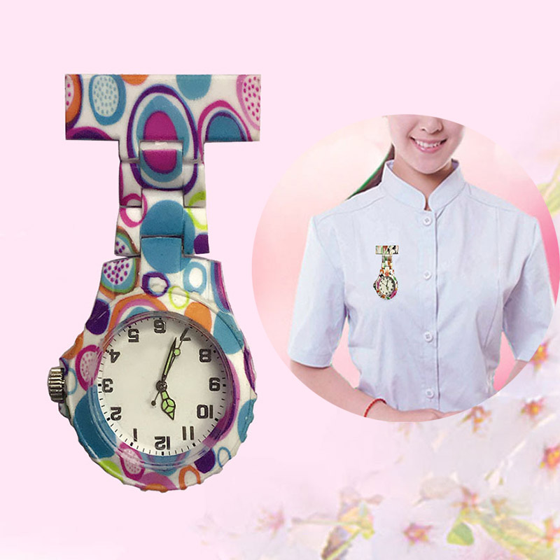 Colorful Silicone Round Dial Quartz Pocket Nurse Watch Quartz Brooch Doctor Nurse Hanging Watches Clip-on Fob Hanging UnisexTC21