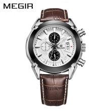 MEGIR Oryginalne Mężczyźni Skórzane Biznes Zegarki Zegarek Kwarcowy Reloj Hombre Mężczyzna Zegar Armia Wojskowy Zegarek Chronograph Sport Mężczyzna 2020