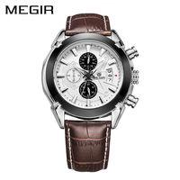 MEGIR New Genuine Leather Watch Sports Quartz Watch Man Mlitary Chronograph Business Wrist Watches Men Army