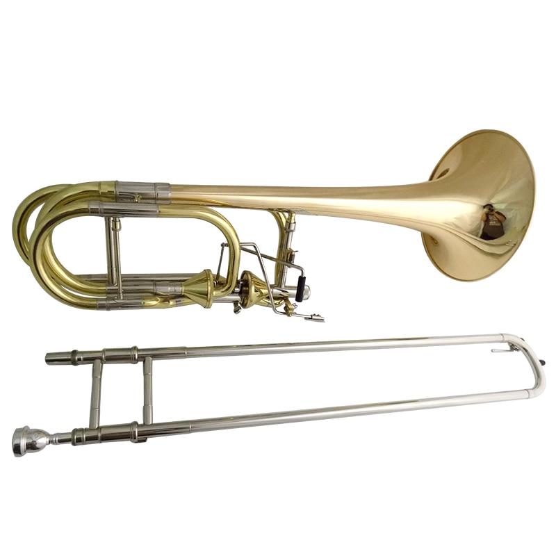 Bb/F/Eb/D тюнинг тромбон Музыкальные инструменты двойной тромбон с Чехол и мундштук - Цвет: Lacquer