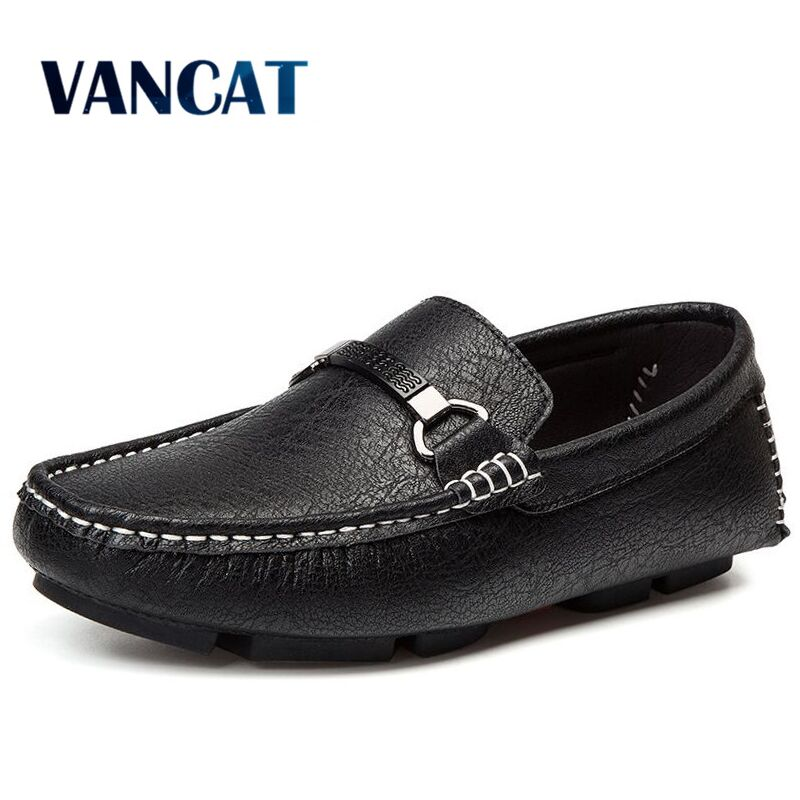 VANCAT Loafers Men Shoes Breathable Comfortable Genuine Leather Flats Spring Summer Fashion Casual Shoes For Man Plus Size 38-46 spring autumn fashion men high top shoes genuine leather breathable casual shoes male loafers youth sneakers flats 3a
